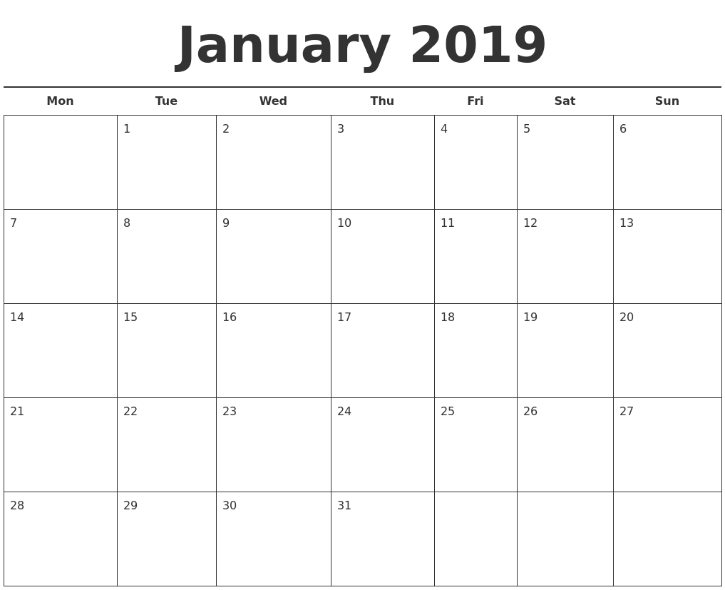 2019 calendar template printable month calendar::January 2019 Calendar with Holidays Printable