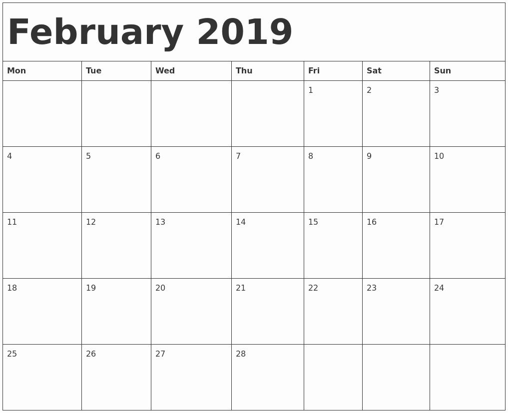 2019 printable calendar pdf february 2019 calendar template::February 2019 Calendar Template Printable
