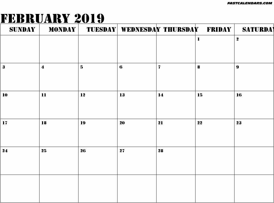 2019 printable monthly calendar word february 2019 calendar template::February 2019 Monthly Calendar