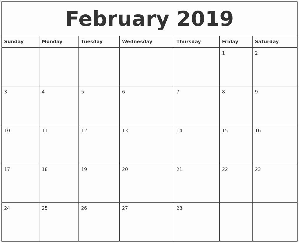 2019 uk february template monthly printable::February 2019 Calendar UK