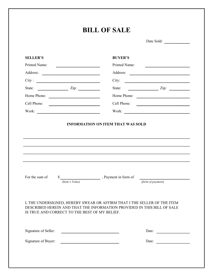 bill of sale firearm vehicle bill of sale form dmv auto bill of::Car Bill of Sale Form Template Printable