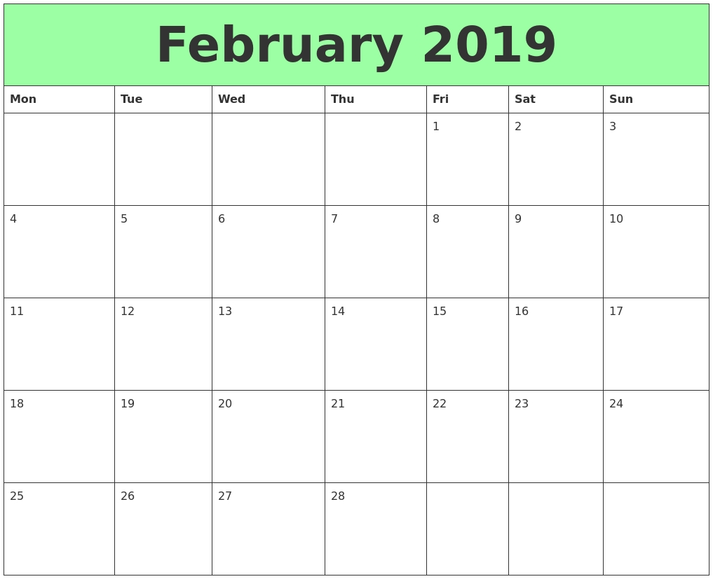 blank calendar template feb 2019 calendar printable free::February 2019 Calendar Template Printable