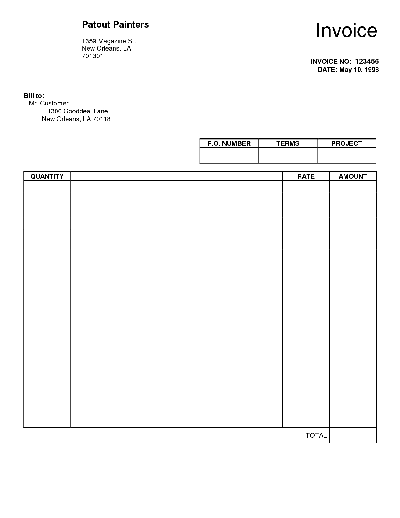 blank invoice pdf free template word loveworldusaco::Receipt Template Blank Word PDF