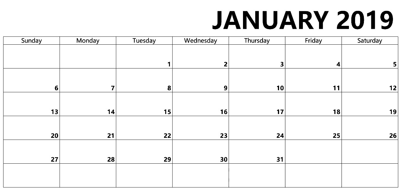 blank january 2019 calendar word printable calendar 2018 template::January 2019 Calendar Word