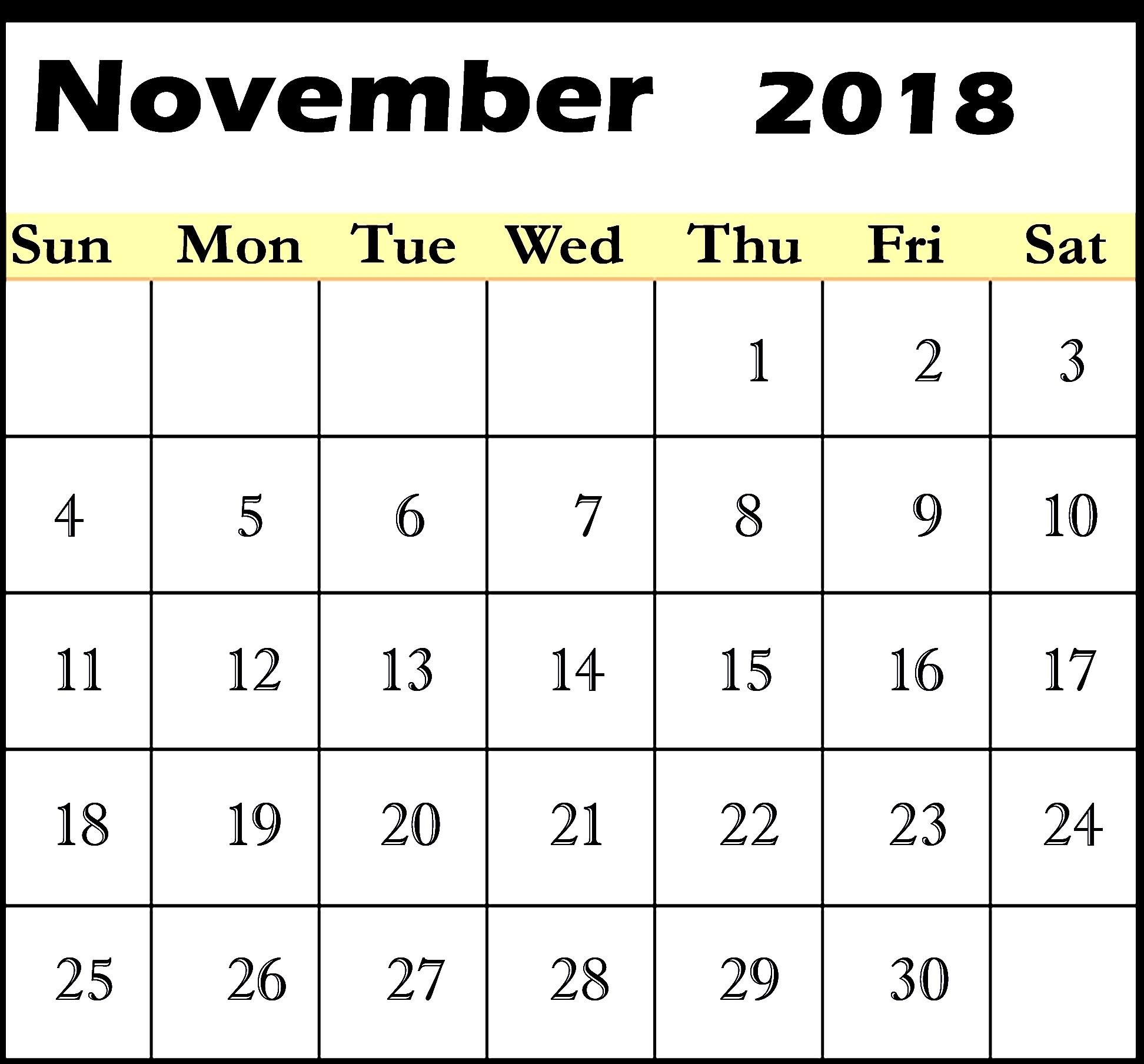 blank november 2018 calendar calendar template letter format::November 2018 Calendar Printable