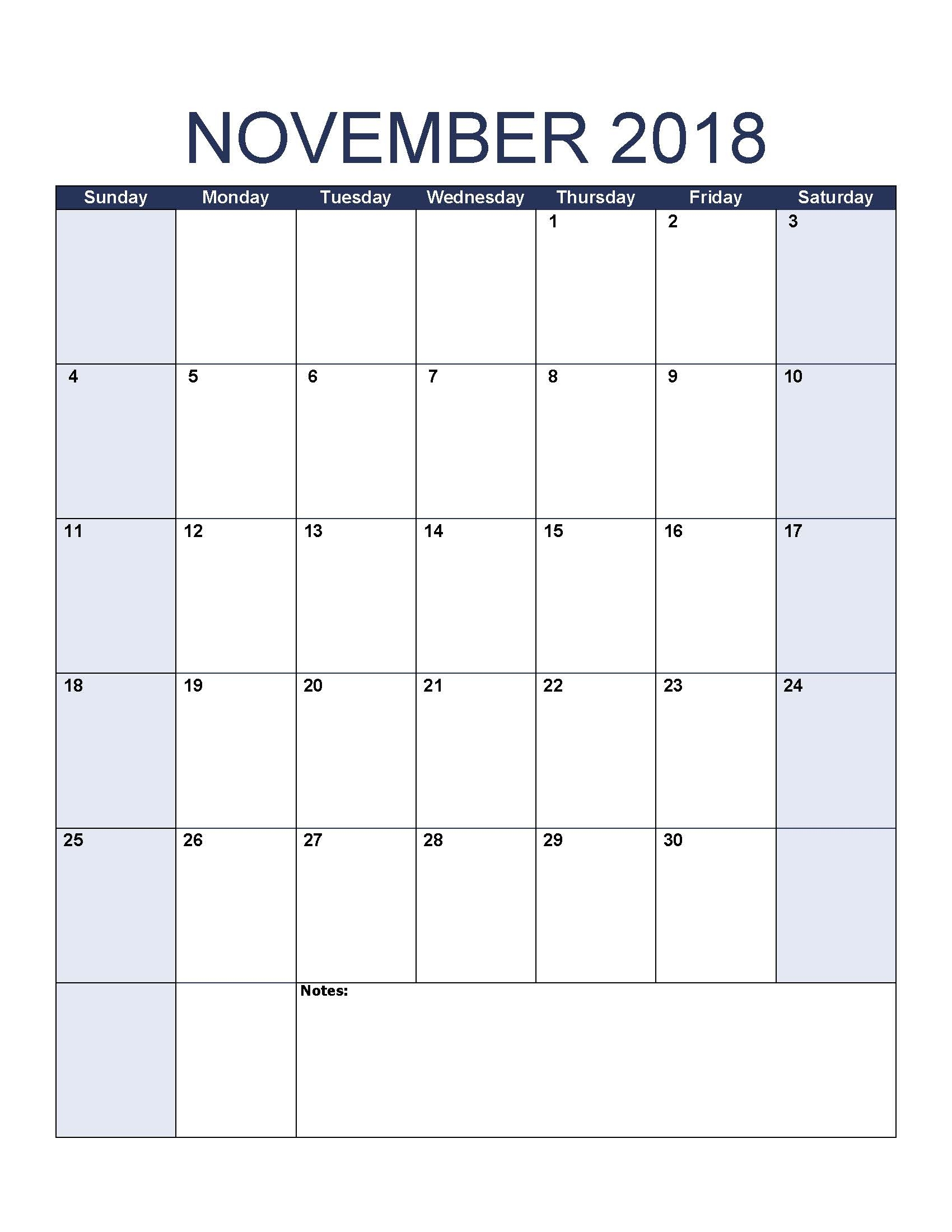 blank november 2018 calendar to print::November 2018 Calendar