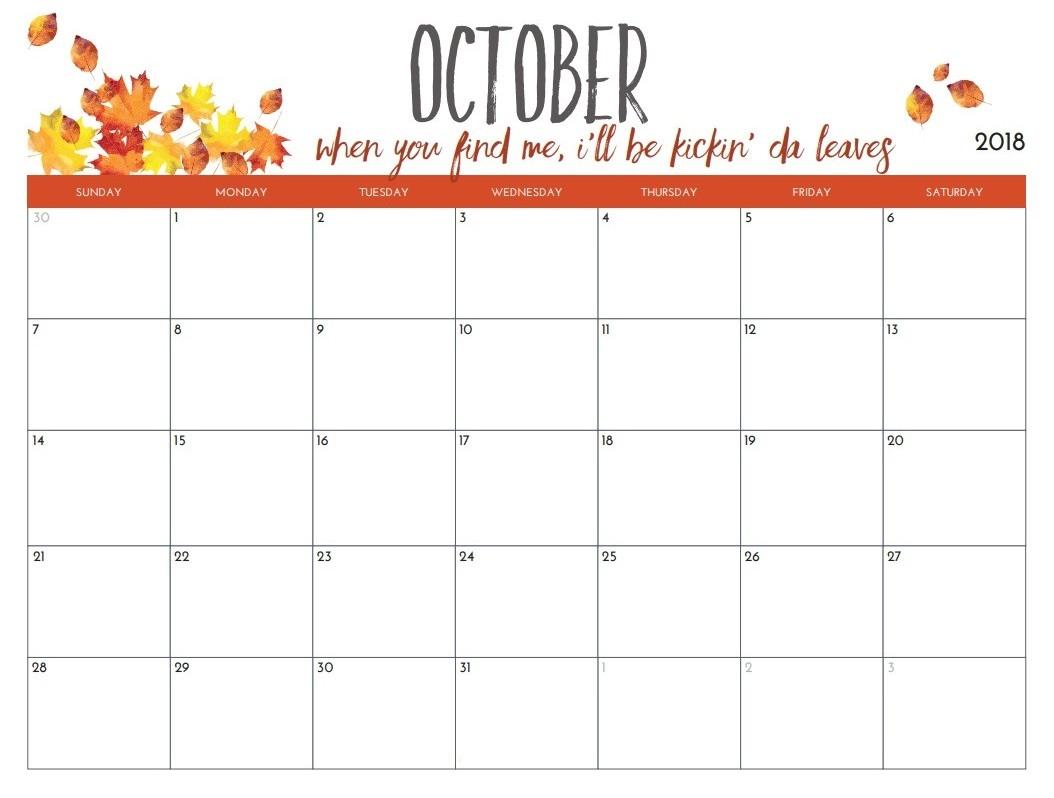 blank october 2018 calendar free printable printable calendar 2018 October 2018 Calendar Free erdferdf