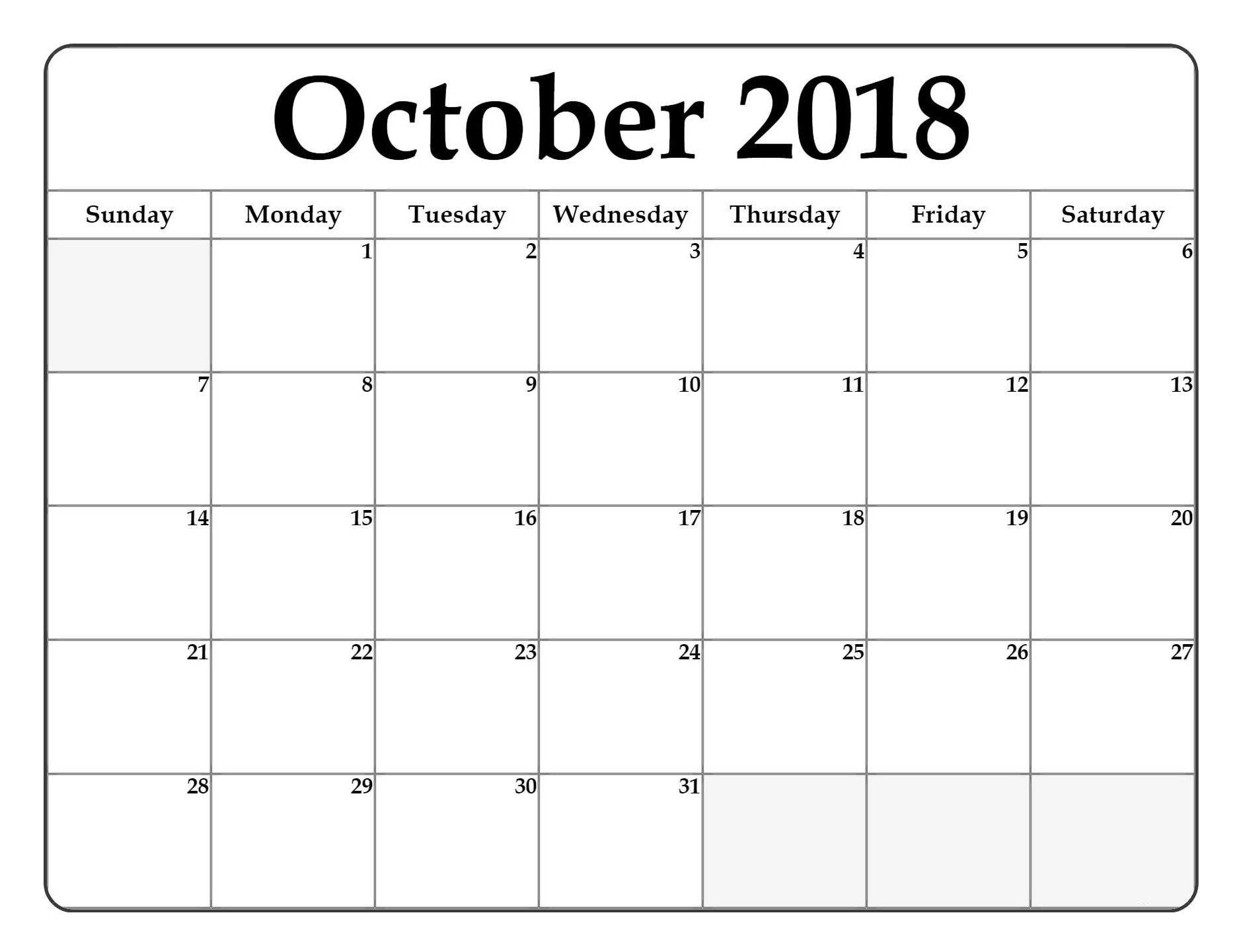 blank october 2018 calendar printable free printable calendar Printable October 2018 Calendar erdferdf