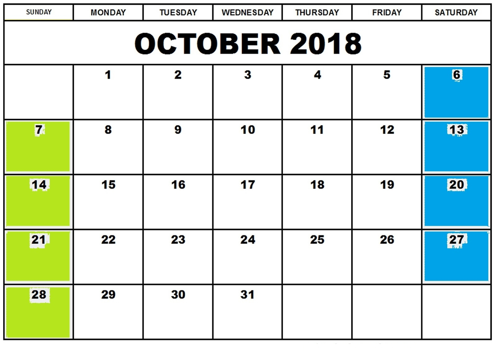 blank october 2018 calendar printable template editable printable October 2018 Calendar Printable Template erdferdf