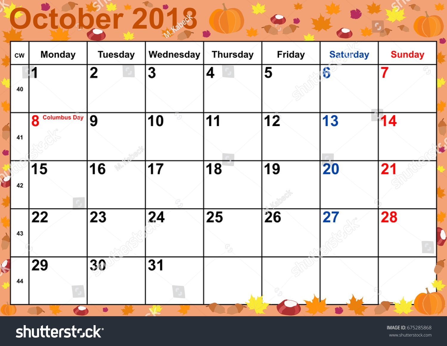 calendar 2018 month october public holidays stock vector royalty October 2018 Calendar Holidays USA erdferdf