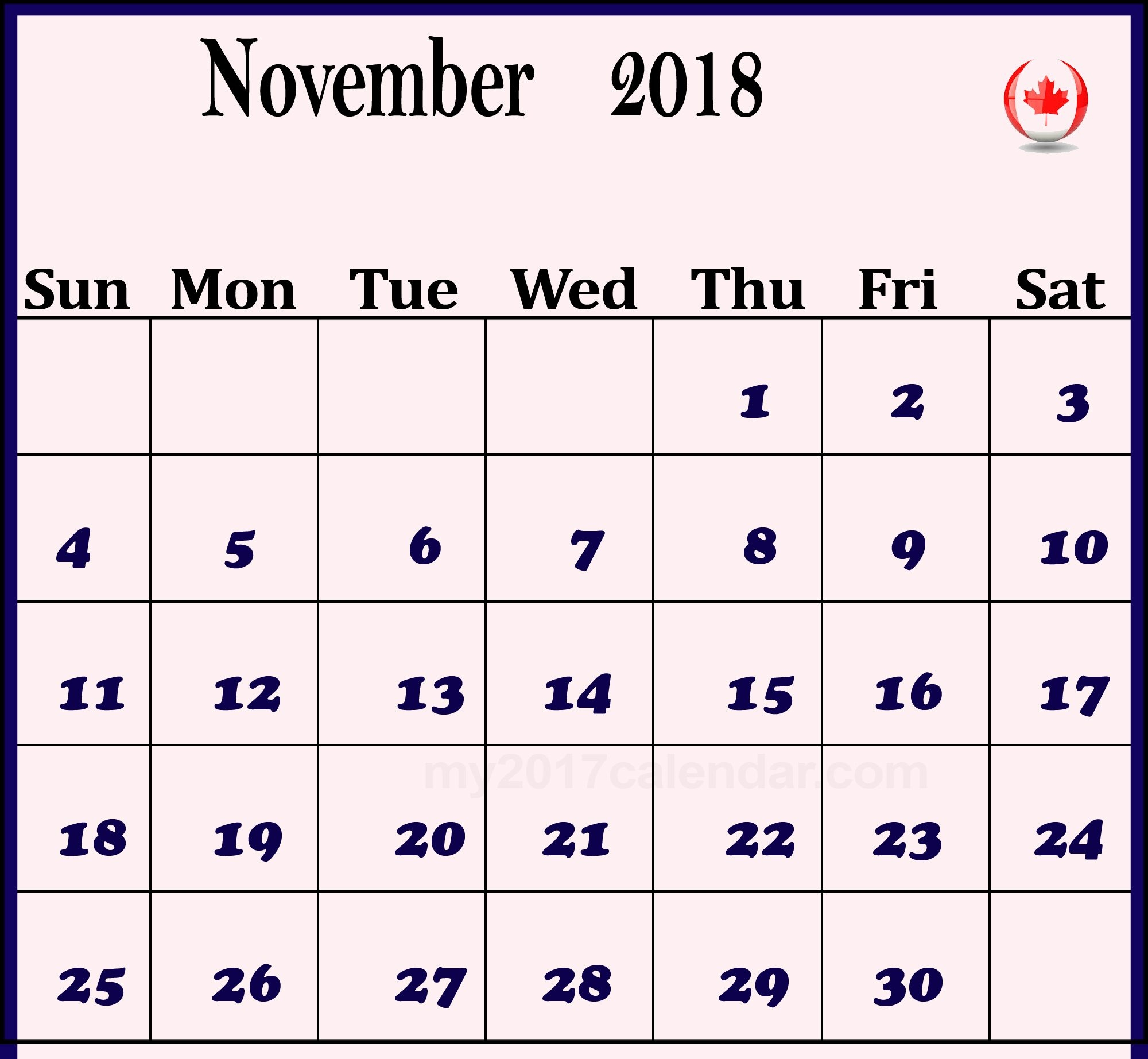 calendar 2018 november canada business calendar templates::November 2018 Calendar Canada