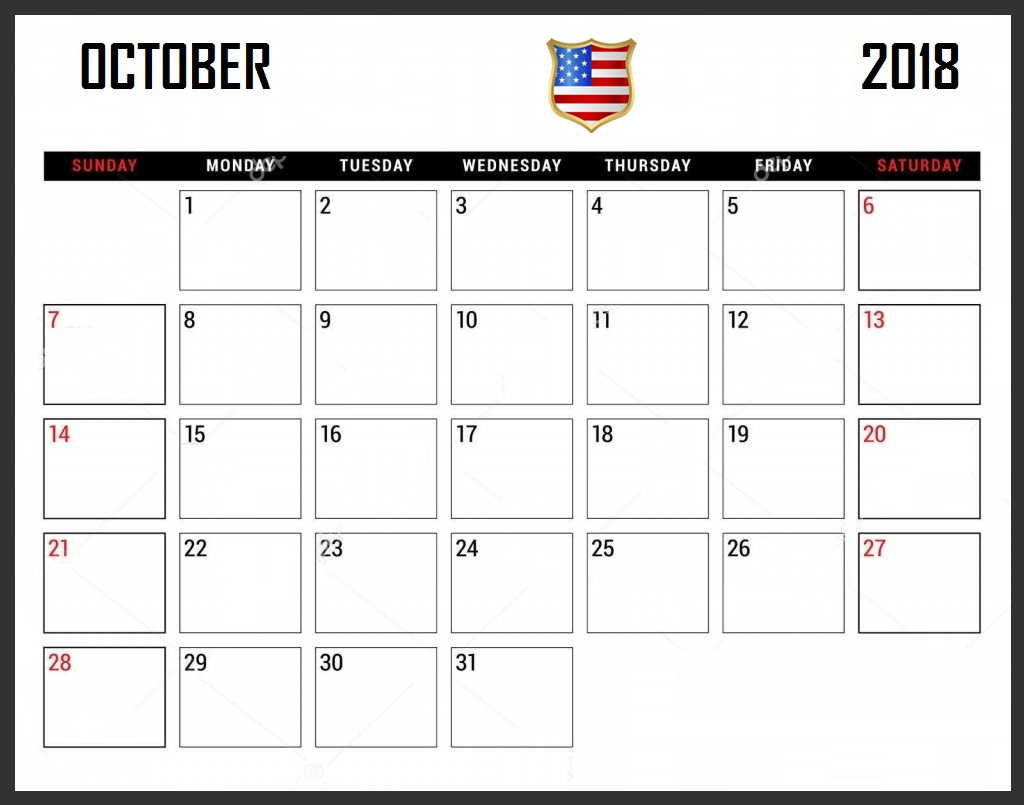calendar 2018 october us printable calendar templates 2018 sheet October 2018 Calendar Holidays USA erdferdf