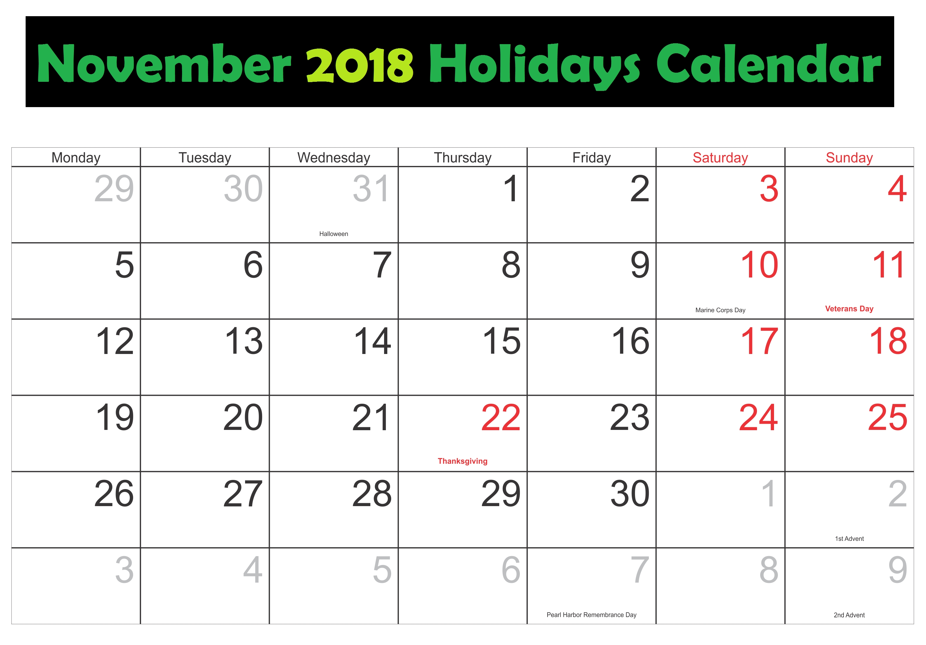 calendar for november 2018 with holidays business calendar templates::November 2018 Calendar
