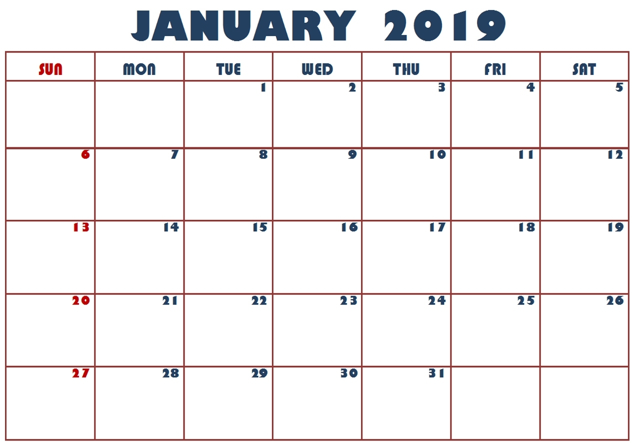 calendar january 2019 printable template best calendar printable::January 2019 Calendar Printable Template