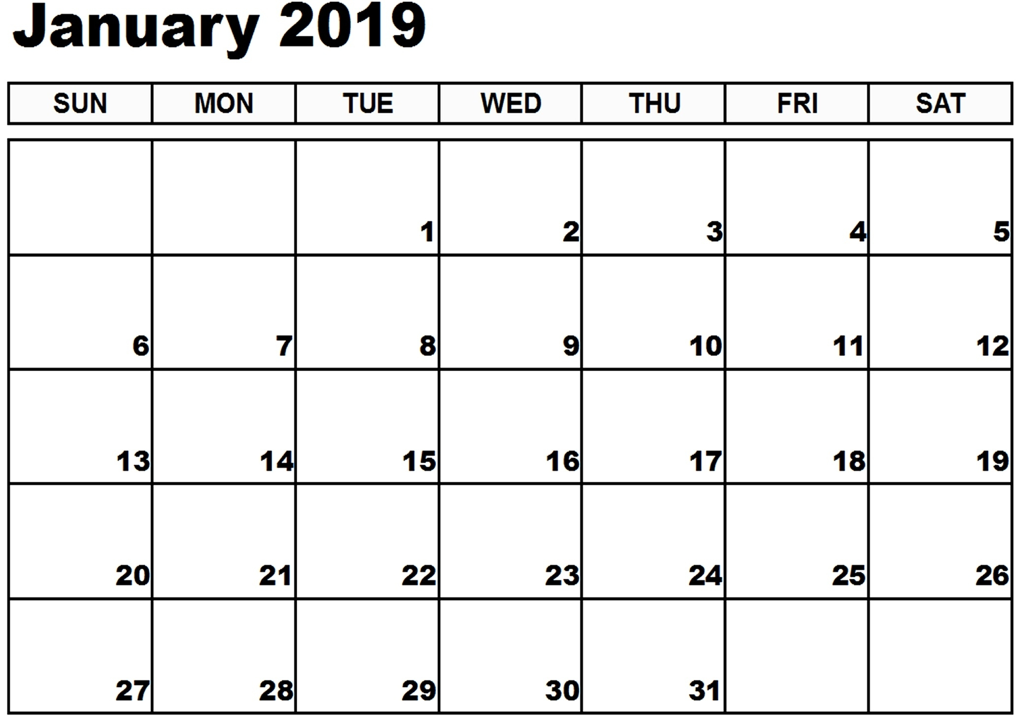 calendar january 2019 word printable printable::January 2019 Calendar Word