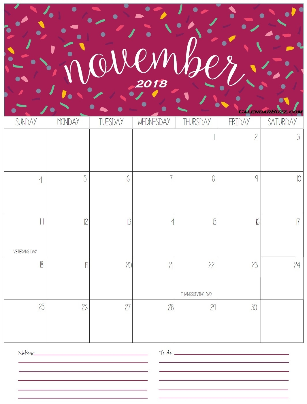 calendar november 2018 in pdf word excel printable template::November 2018 Calendar Pdf