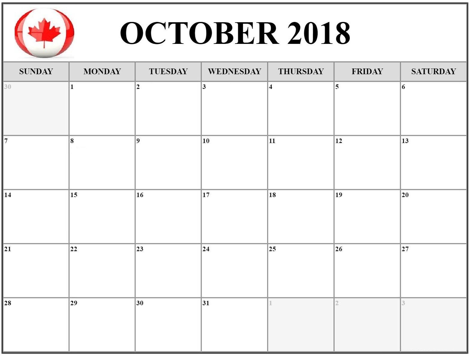 calendar october 2018 canada printable calendar template Calendar October 2018 Template erdferdf