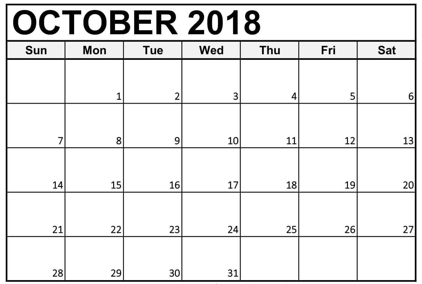 calendar october 2018 printable download calendar printable with Calendar October 2018 Printables erdferdf