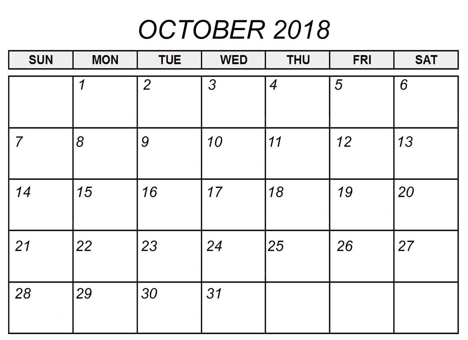 calendar october 2018 printable template paper worksheets calendar Calendar October 2018 Printables erdferdf