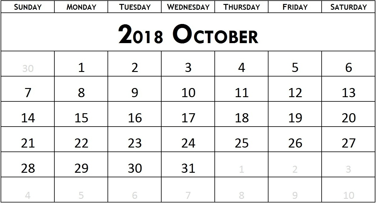 calendar october month 2018 printable printable paper sheets Calendar October 2018 Printables erdferdf