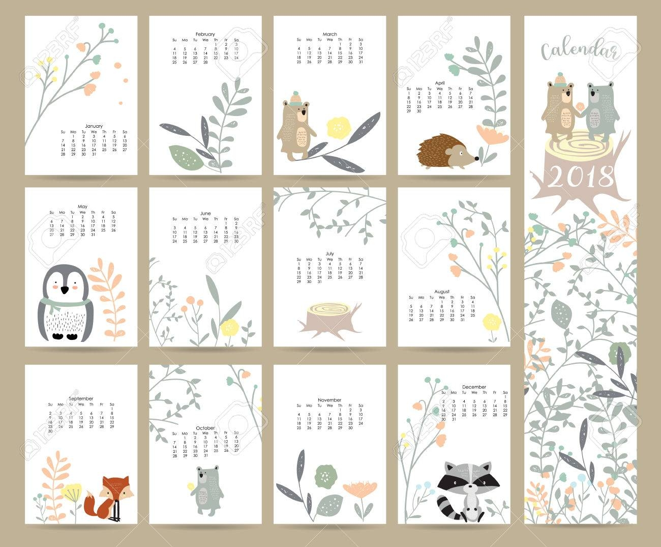 colorful cute monthly calendar 2018  Cute Free Monthly Printable Calendar 2018 erdferdf