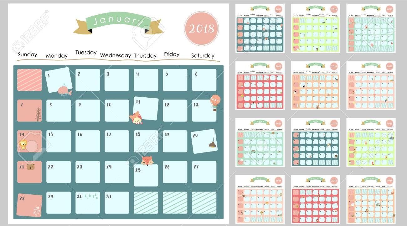 colorful cute monthly calendar 2018 with  Cute Free Monthly Printable Calendar 2018 erdferdf