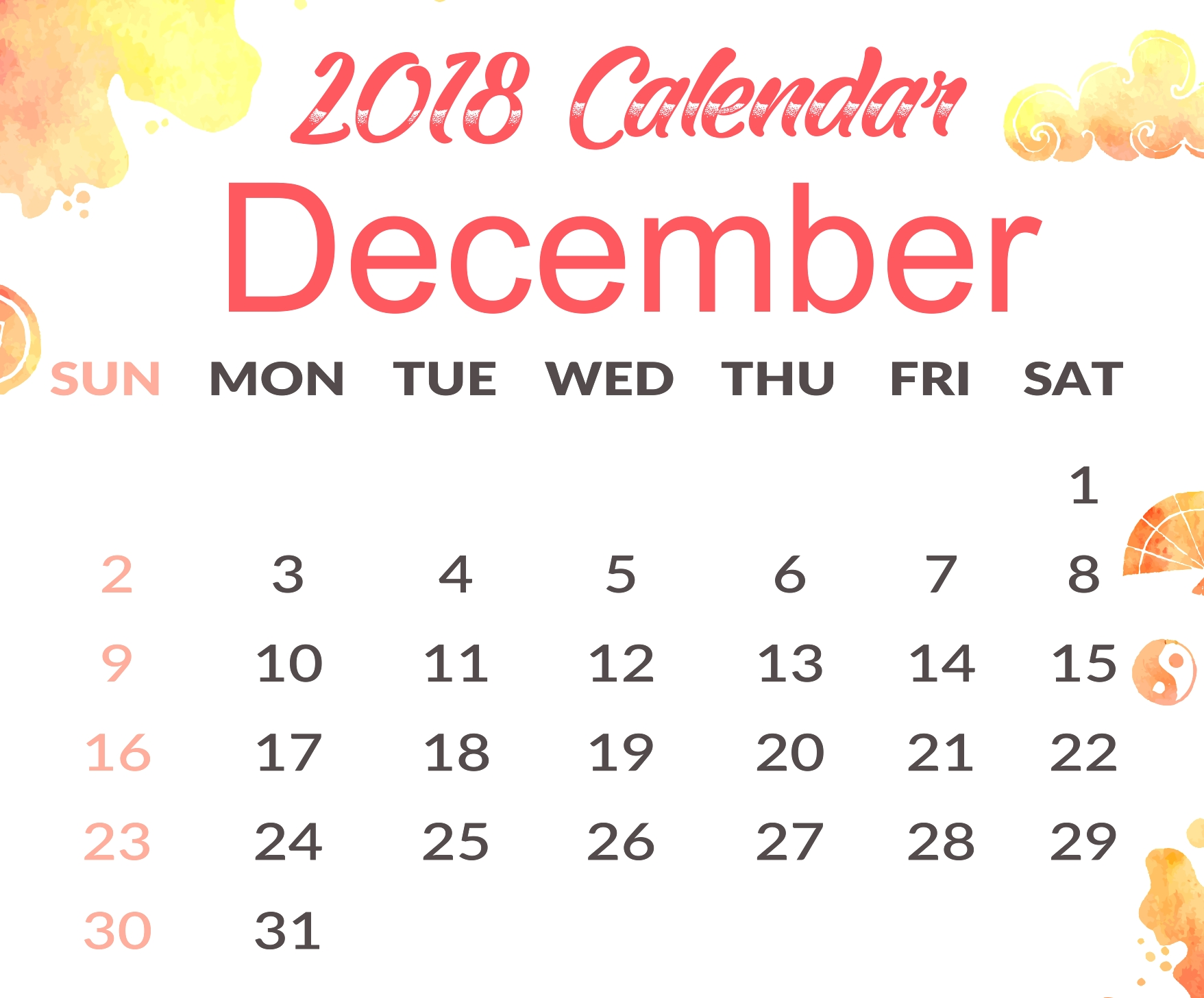 cute calendar december 2018 printable printable office templates::December 2018 Calendar Cute