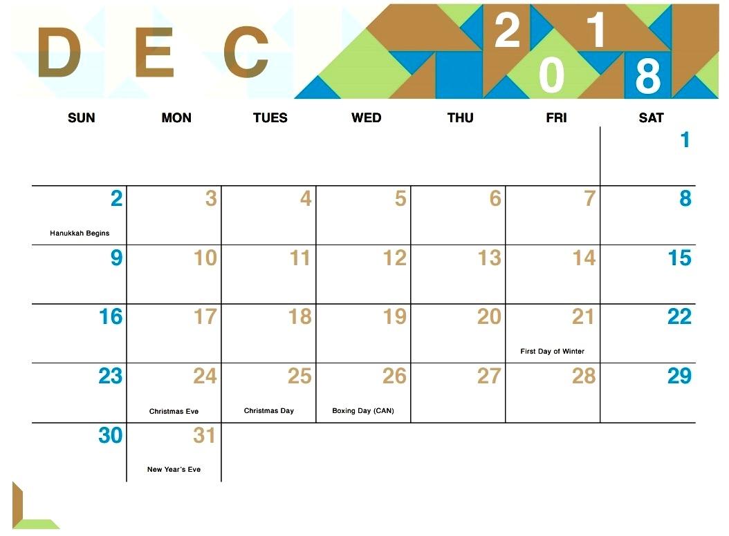 cute december 2018 calendar calendar printable with holidays::December 2018 Calendar Printable Template