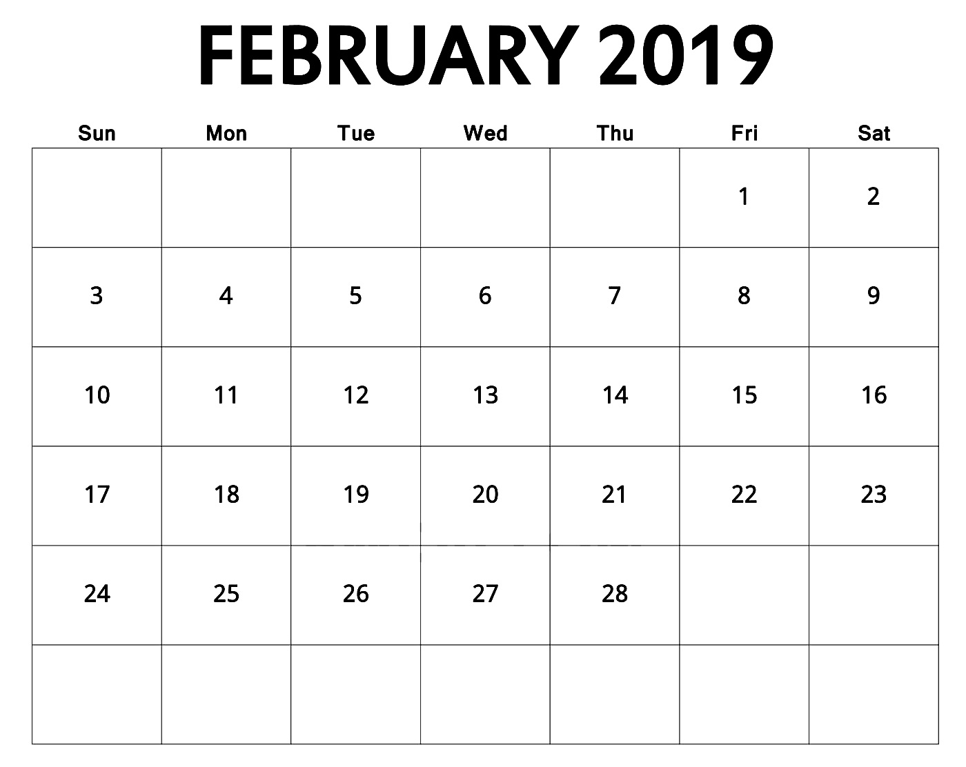 cute february 2019 calendar printable best calendar printable pdf::February 2019 Calendar Template Printable