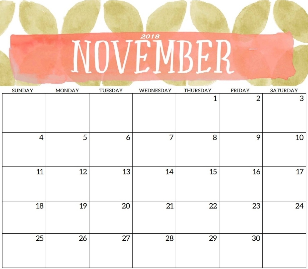 cute november 2018 calendar free printable cute november 2018::November 2018 Calendar Printable