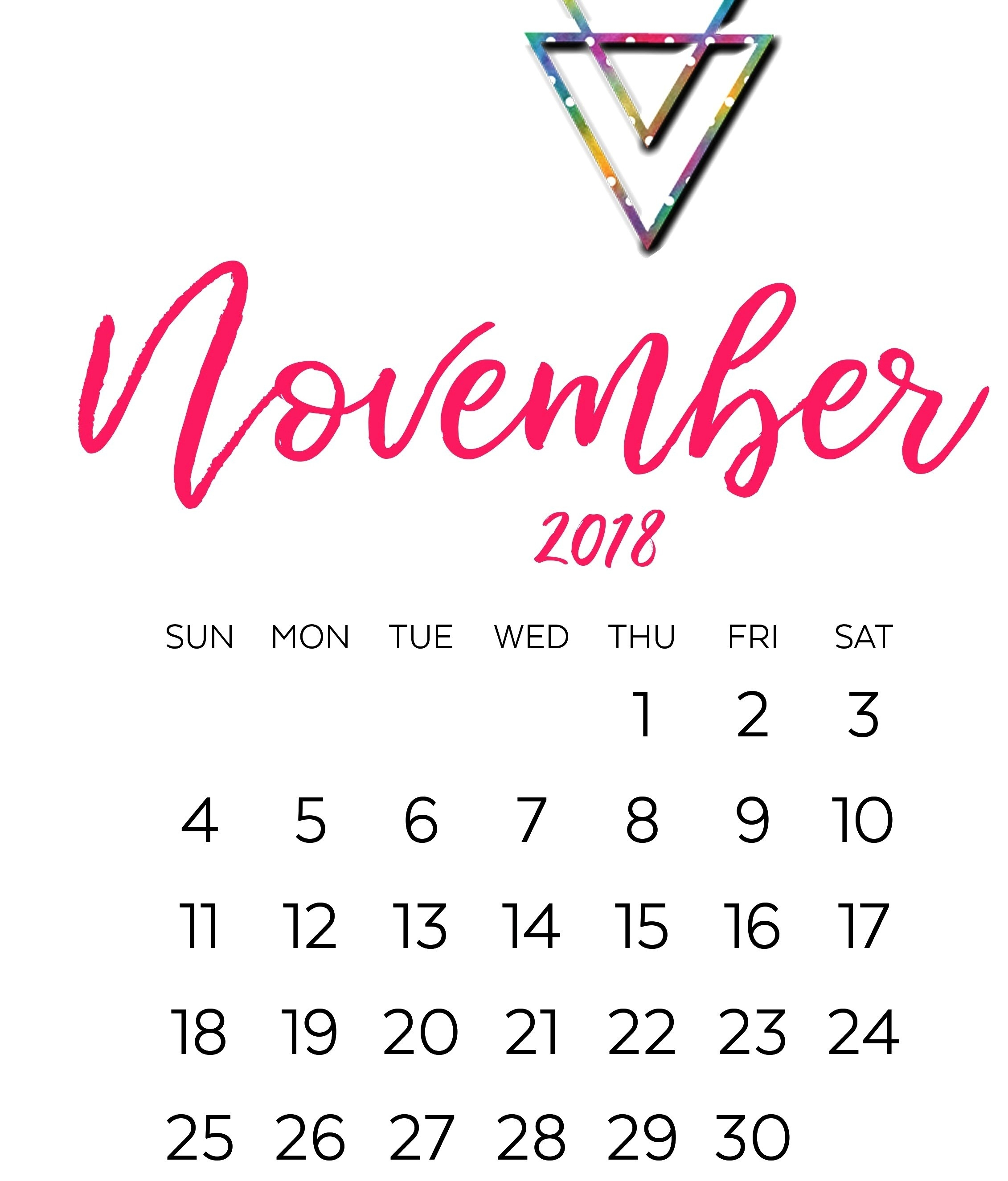 cute november 2018 calendar template letter calendar worksheets::November 2018 Calendar Template