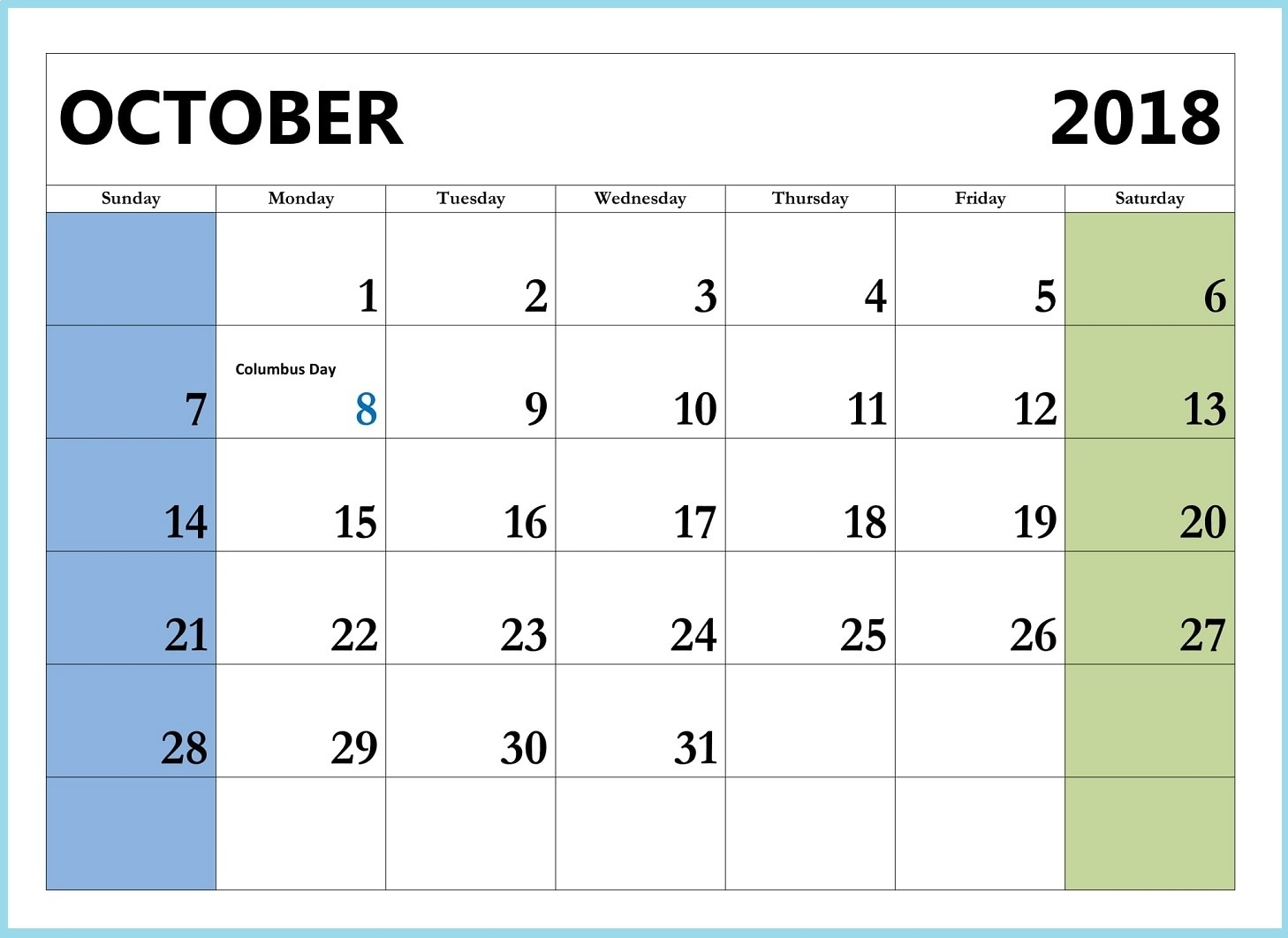 cute october 2018 calendar free printable business calendar templates October 2018 Calendar Free erdferdf