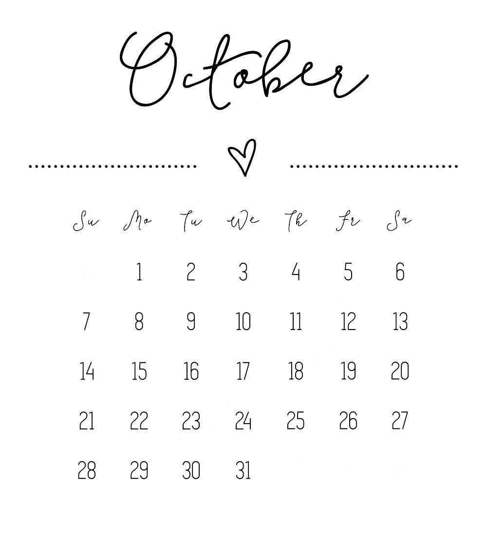 cute october 2018 calendar free printable printable calendar October 2018 Calendar Free erdferdf