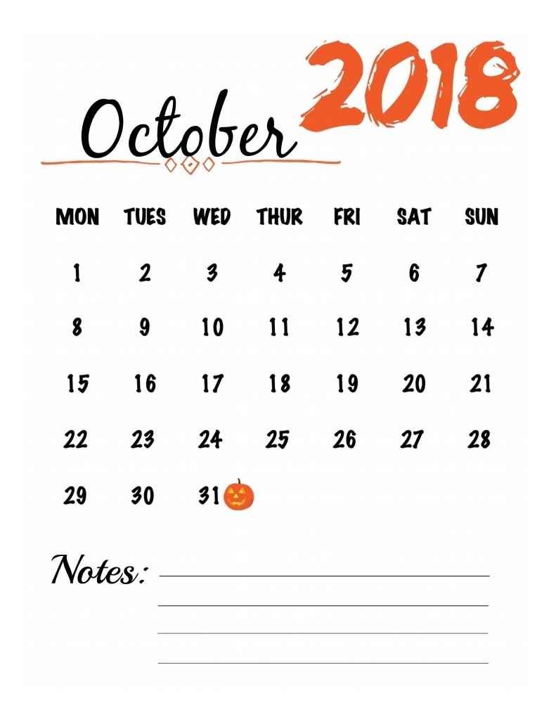 October 2018 Calendar with Notes