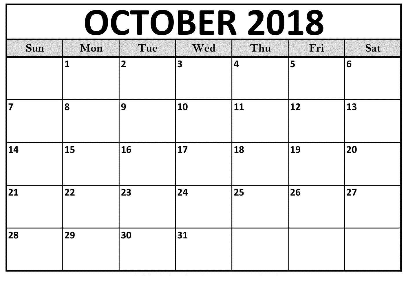 cute october 2018 calendar printable template letter calendar Printable October 2018 Calendar erdferdf