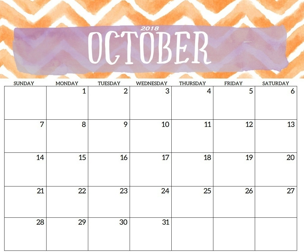 cute october 2018 calendar printable template printable 2018 October 2018 Calendar Printable Template erdferdf