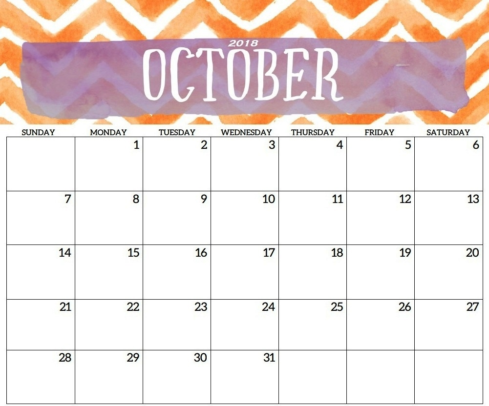 cute october 2018 calendar printable template printable office October 2018 Calendar Printable Template erdferdf
