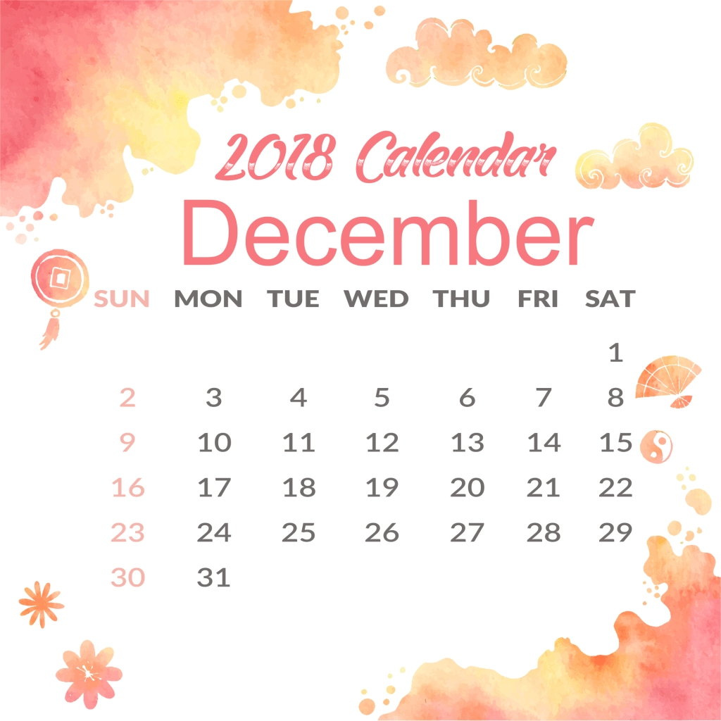 december 2018 a4 printable calendar template july 2018 calendar::December 2018 Calendar Printable Template