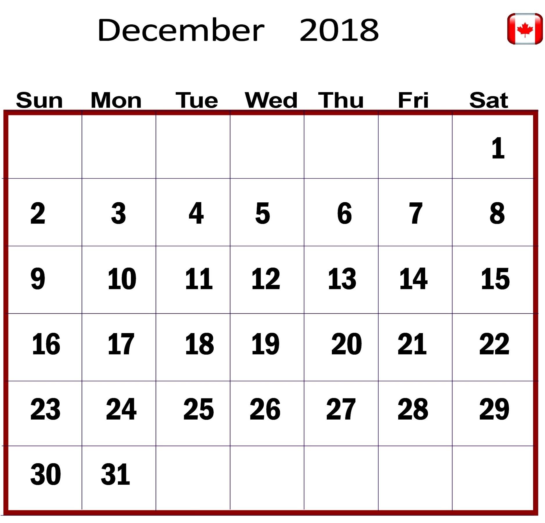 december 2018 calendar canada printable calendar template letter::December 2018 Calendar Printable Template USA UK Canada