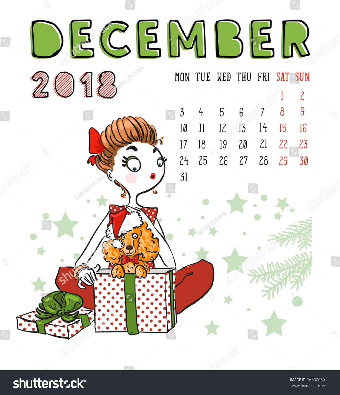 december 2018 calendar cute girl dog stock vector 768000691::December 2018 Calendar Cute