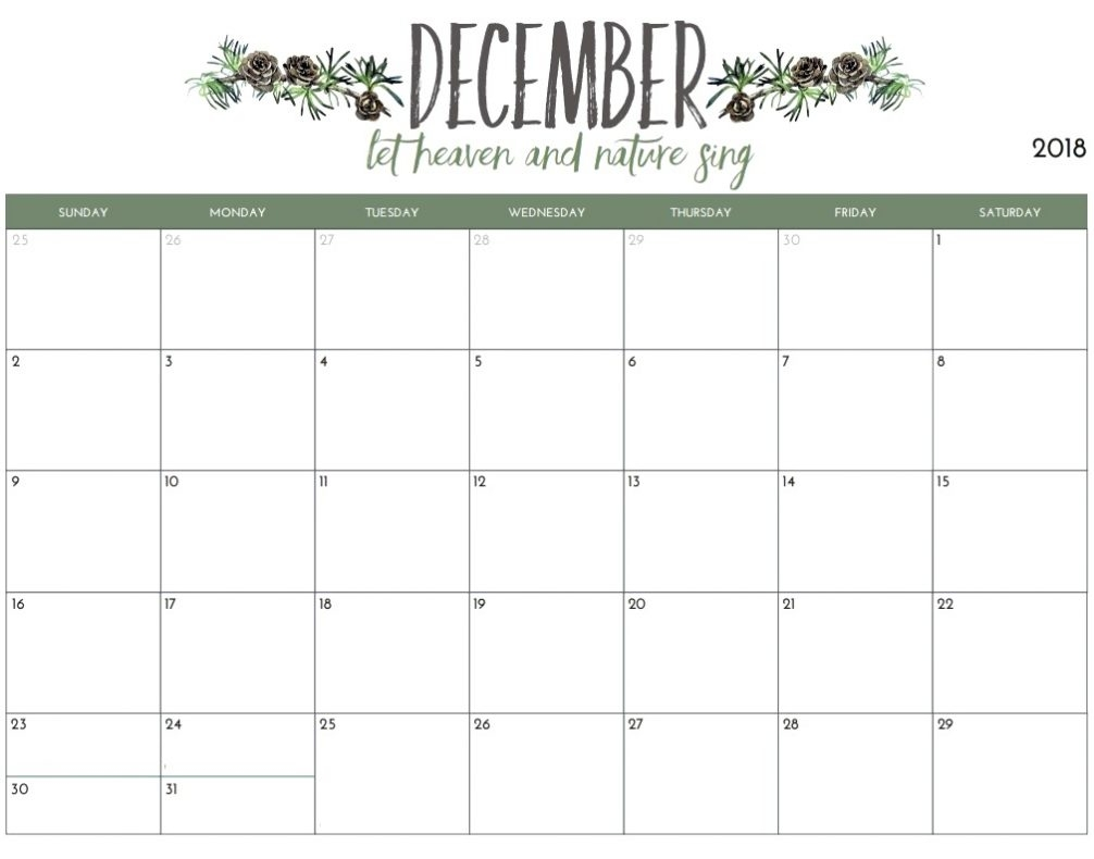december 2018 calendar cute printable blank template with holidays::December 2018 Calendar Cute