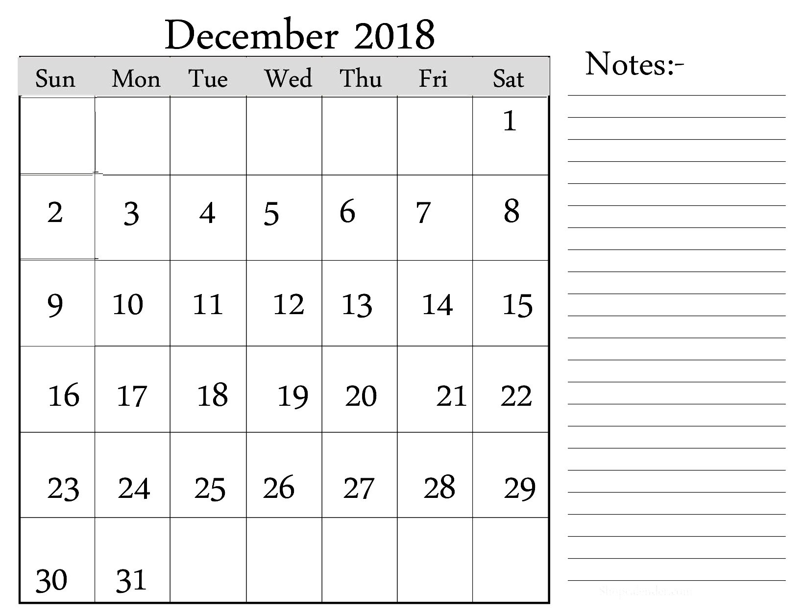december 2018 calendar notes printable calendar printable with::December 2018 Calendar Printable Template USA UK Canada