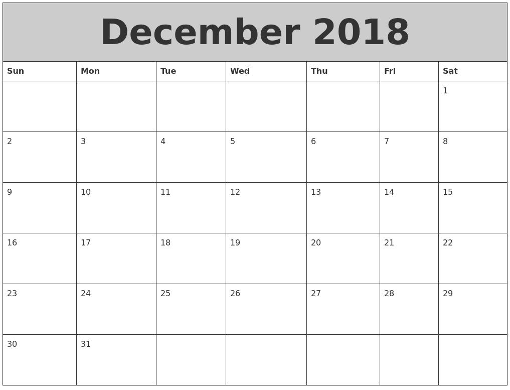 december 2018 calendar printable templates with holidays::December 2018 Calendar Printable Template