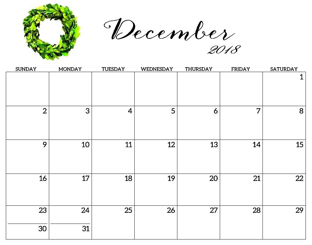 december 2018 calendar template hourly printable calendar template::December 2018 Calendar Printable Template