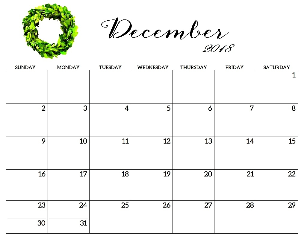 december 2018 calendar template hourly printable calendar template::December 2018 Calendar Template