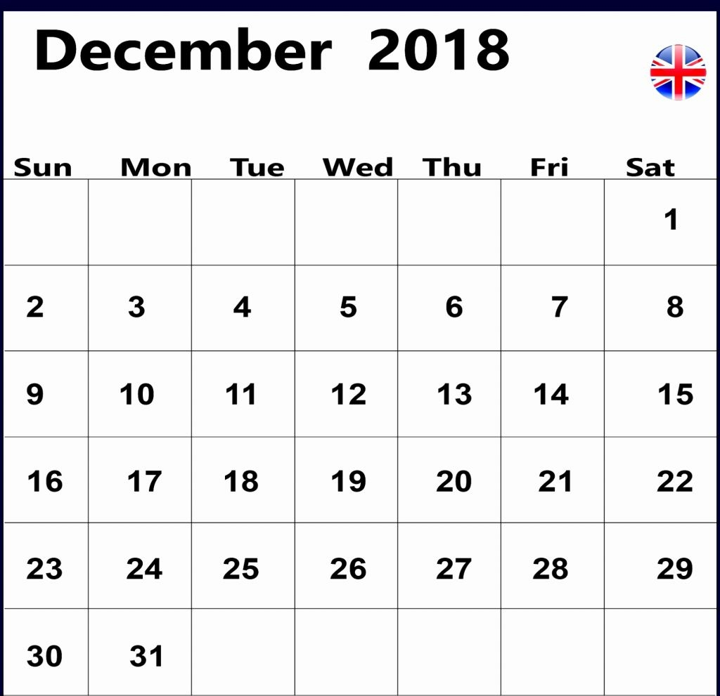 december 2018 calendar uk december 2018 calendar template printable::December 2018 Calendar Printable Template USA UK Canada