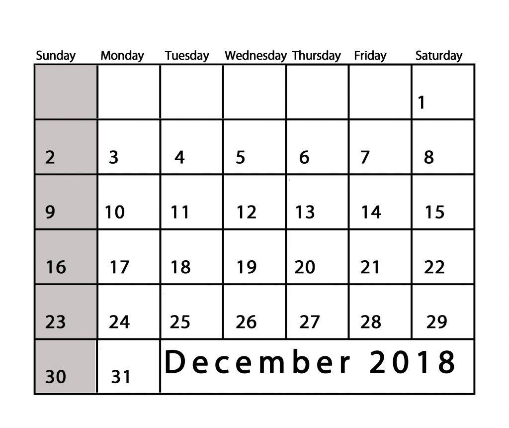 december 2018 calendar usa free blank word excel printable::December 2018 Calendar USA