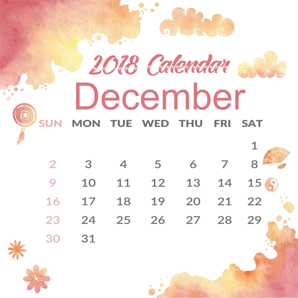 december 2018 calendar with holidays cute calendar template::December 2018 Calendar Cute