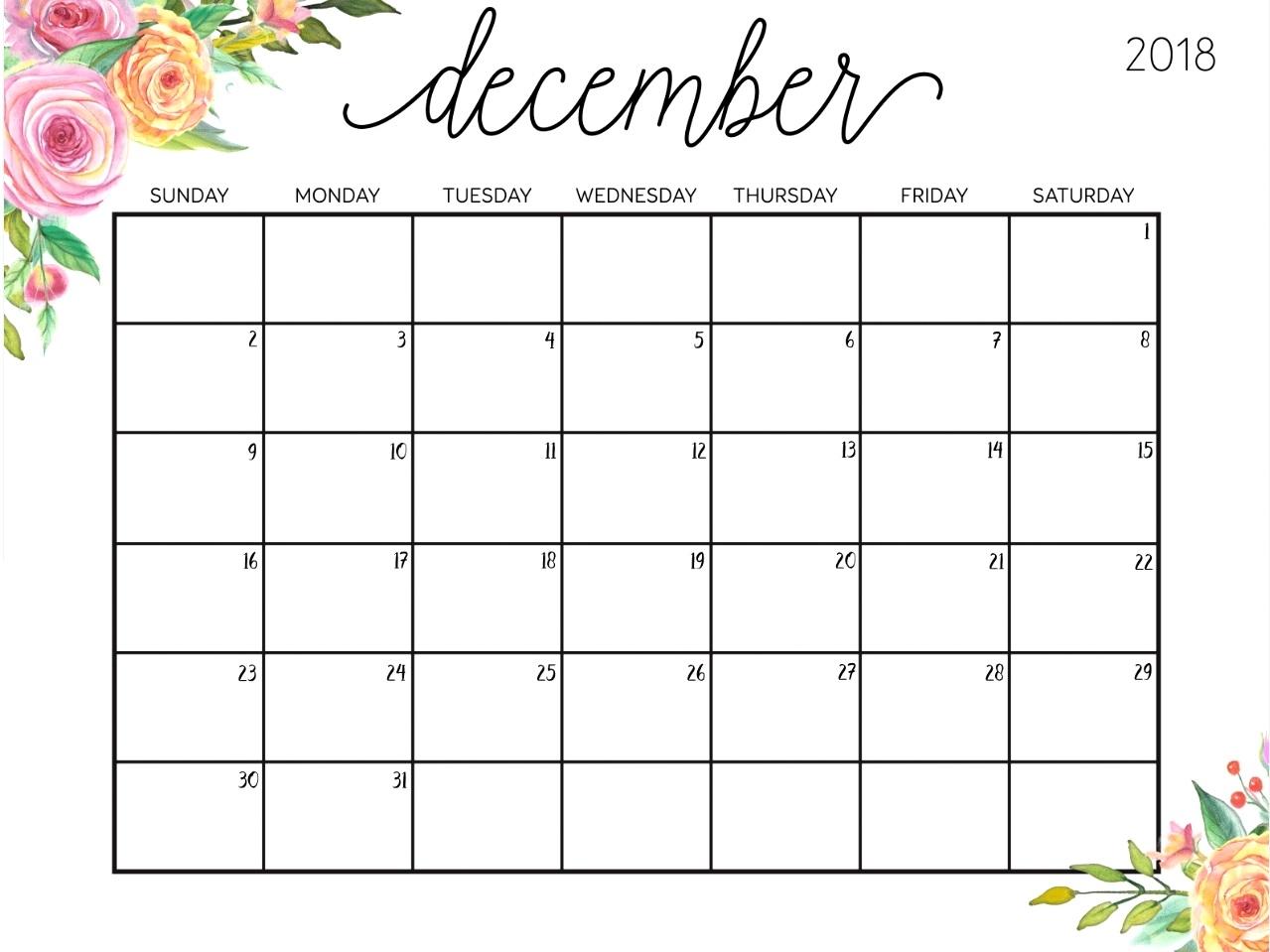 december 2018 cute calendar printable printable calendar 2018::December 2018 Calendar Printable Template