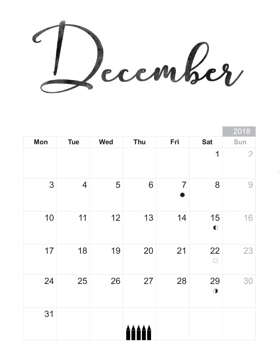 december 2018 desk calendar printable calendar template::December 2018 Calendar Template